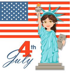 Statue of liberty july 4th independence day cute vector