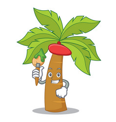 artist palm tree character cartoon vector image vector image