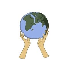 Colored doodle globe in women hands vector image
