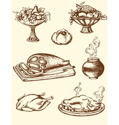 drawing vintage food vector image vector image