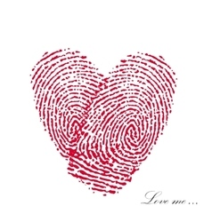 Pink fingerprint with heart on a white background vector image