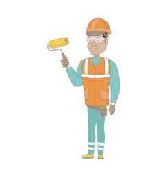 young hispanic house painter holding paint roller vector image vector image