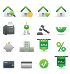 12 green real state icons vector image vector image