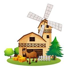 A horse outside the barnhouse at the farm vector image