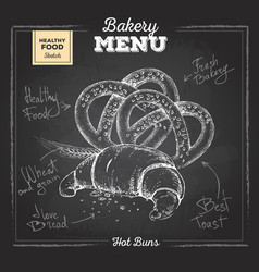Chalk drawing bakery food croissant and pretzel vector