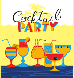 cocktail party holiday invitation background with vector image vector image