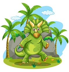 Green dinosaur standing on two feet vector image vector image