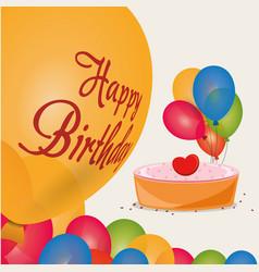 Happy birthday cake colored balloons celebration vector