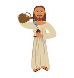 jesus christ miracle water wine concept vector image