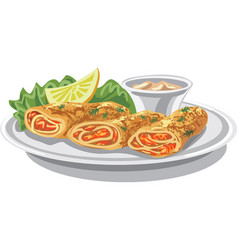 pancakes with salmon vector image vector image