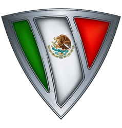 steel shield with flag mexico vector image vector image
