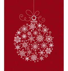 White Christmas ball of snowflakes on red vector image vector image