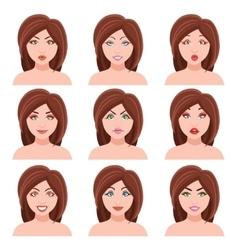 Woman Faces Set vector image vector image