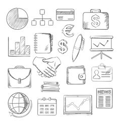 Business finance and office icons sketches vector image