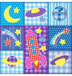 Colorful Space patchwork vector image vector image