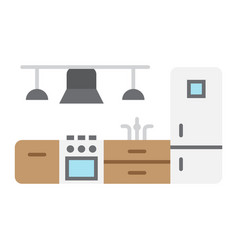 kitchen furniture flat icon and interior vector image vector image
