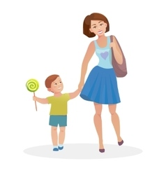 Mom and young son walking vector image