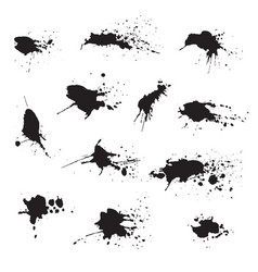 set of dark black watercolor blots splashes vector image