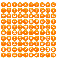 100 sweets icons set orange vector