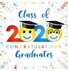2020 graduation social distanse emoji vector image