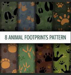 8 animal footprints pattern background set vector