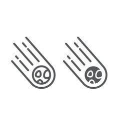 Asteroid line and glyph icon space and meteor vector