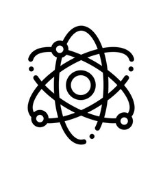 Atom nucleus and electron thin line icon vector