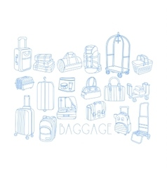 Baggage Related Object Set With Text vector image