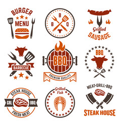 Barbecue and grill colored labels badges emblems vector
