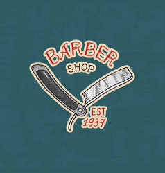 Barbershop badge label logo razor emblem for vector