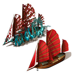 Beautiful old sailboat with red sails isolated on vector