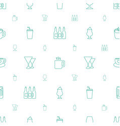 Beverage icons pattern seamless white background vector