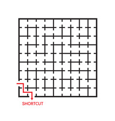 black square maze with shortcut vector image