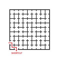 Black square maze with shortcut vector