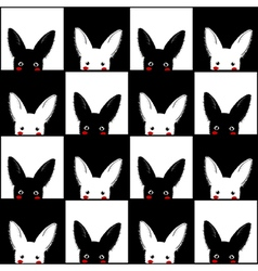 Black White Rabbit Chess board Background vector image