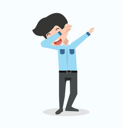 Businessman character in dab pose vector