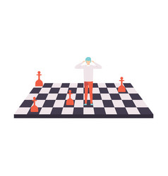 businessman on chessboard control manipulation vector image