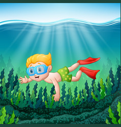 Cartoon boy diving underwater vector