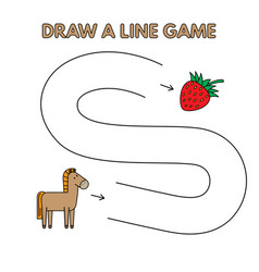 cartoon horse draw a line game for kids vector image
