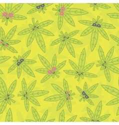 Cartoon kawaii weed seamless pattern green vector image
