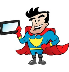 Cartoon of an Super Hero with a Tablet vector