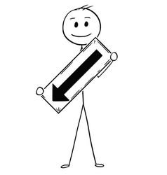 Cartoon of businessman holding arrow sign vector