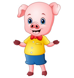 cartoon pig raising his arms vector image