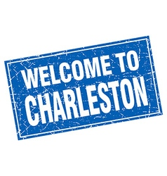 Charleston blue square grunge welcome to stamp vector