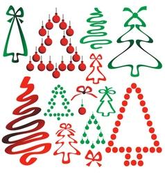 Christmas tree from ribbons and circles vector