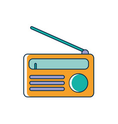 classic radio device melody sound music line and vector image