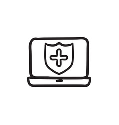 Computer security sketch icon vector