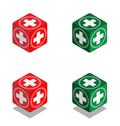 cube with medical cross in isometric view vector image