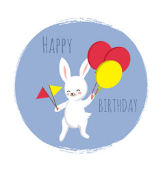 cute bunny with flags and balloons happy birthday vector image