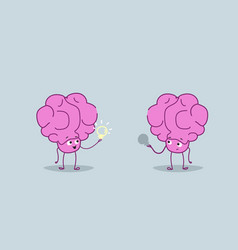 cute human brains couple holding light lamps vector image